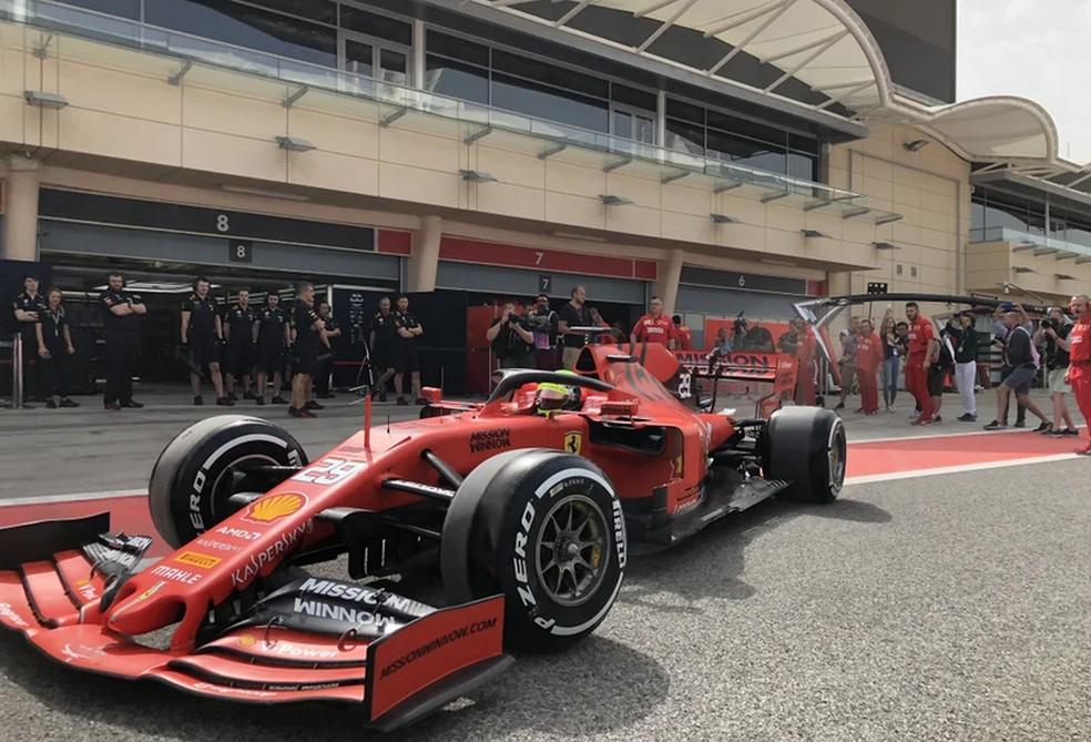 Mick Schumacher no Barein de Ferrari — Foto: Reprodução