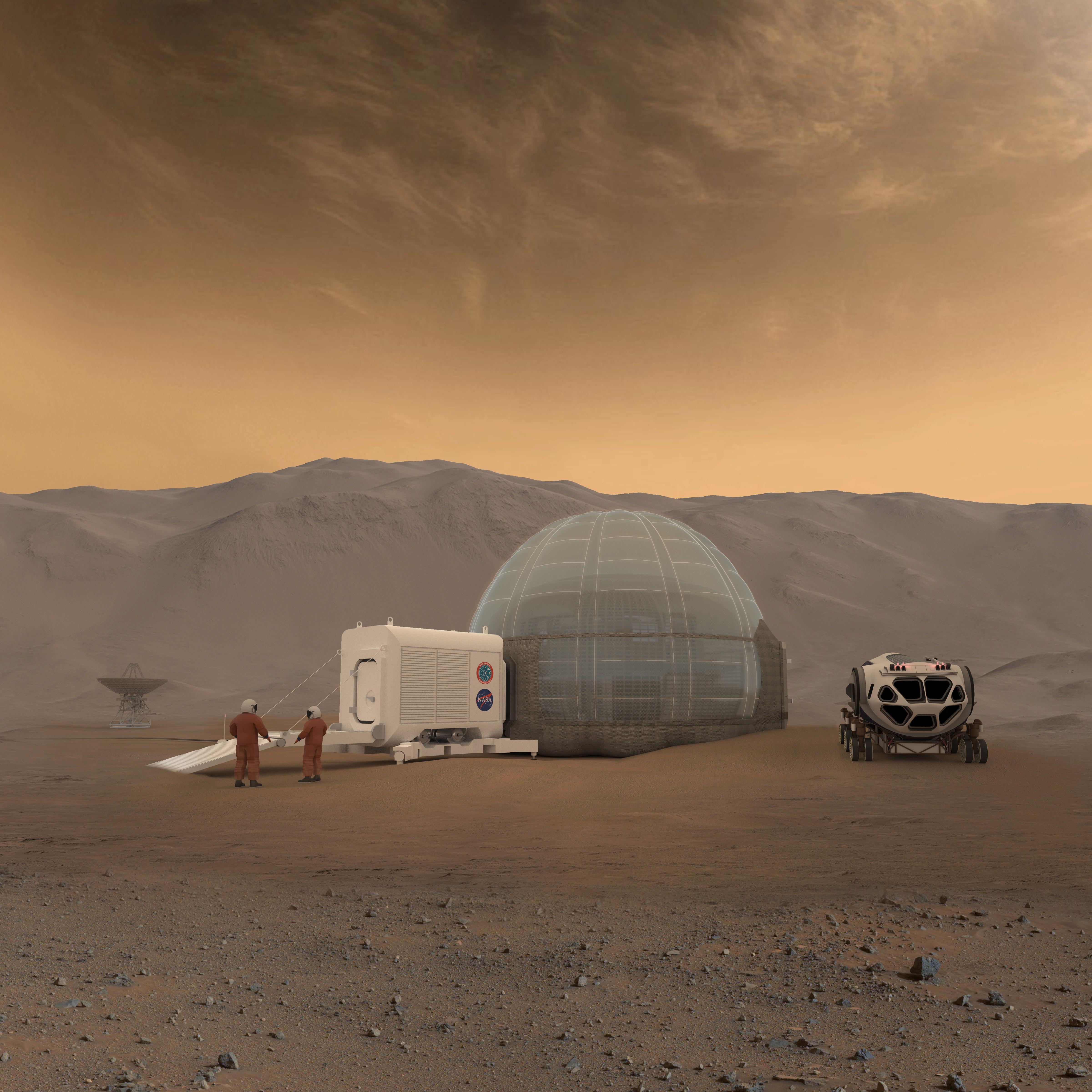 Projeção de uma casa para humanos em Marte (Foto: NASA/Clouds AO/SEArch)