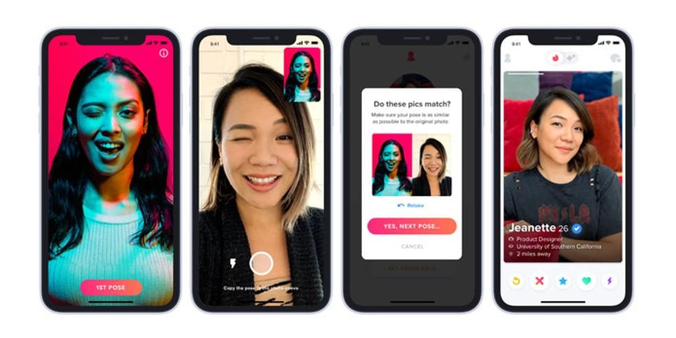 Usuários terão que tirar selfie para provar que são eles mesmos — Foto: Divulgação/Tinder