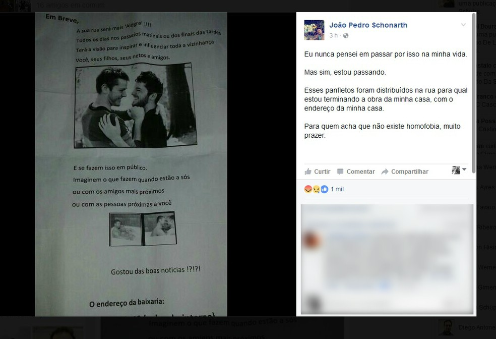Panfletos homofóbicos são distribuídos onde casal constrói casa em Curitiba  (Foto: Reprodução/Facebook)
