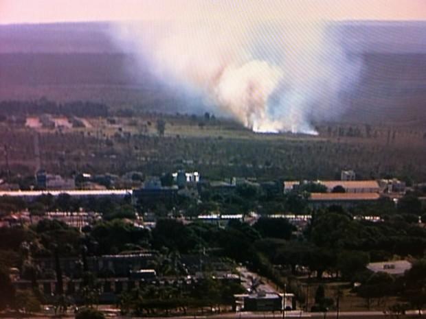 A fumaça branca da área queimada podia ser vista de longe (Foto: Reprodução/ TV Globo)