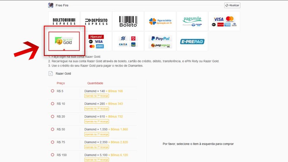 """Dentre as formas de pagamento disponíveis, selecione """"Razer Gold""""  — Foto: Reprodução/Arte Leandro Eduardo"""