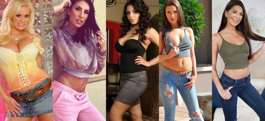 As cinco atrizes pornô que morreram entre novembro de 2017 e janeiro de 2018 (a partir da esquerda): Shyla Stylez, August Ames, Yurizan Beltran, Olivia Nova e Olivia Lua (Foto: Divulgação/Redes sociais das atrizes)