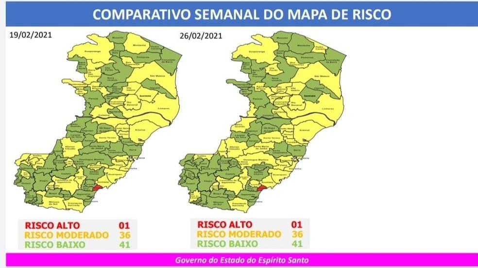 46º Mapa de Risco Covid-19 do governo do ES — Foto: Divulgação/Governo ES