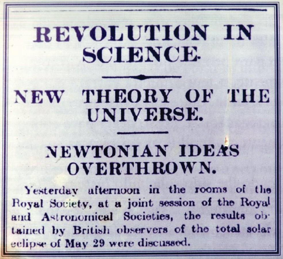 """Comprovação da teoria da relatividade foi considerada """"revolução na ciência"""" pelos jornais britânicos — Foto: Museu do Eclipse/Arcevo"""