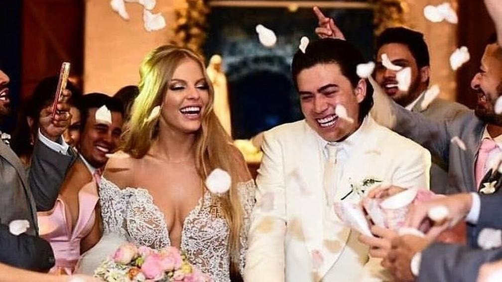 Casamento de Whindersson Nunes e Luísa Sonza — Foto: Twitter/@matmazzafera/Reprodução