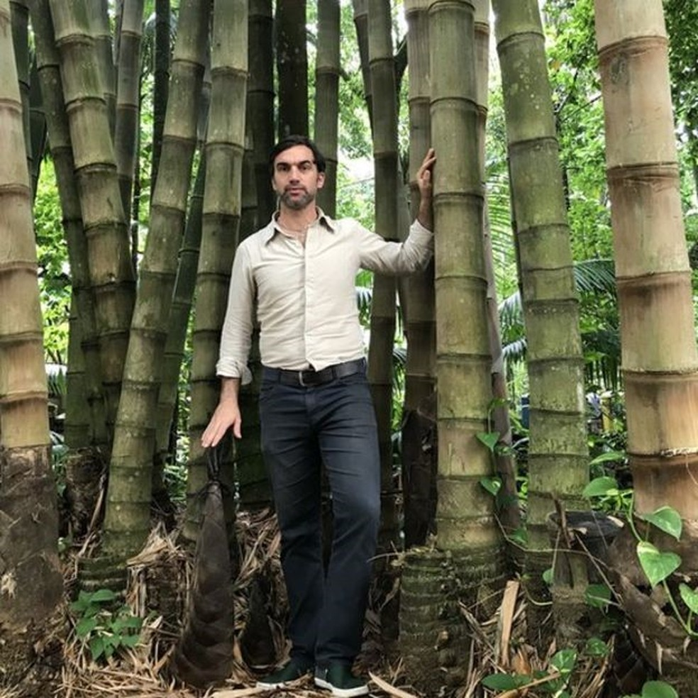 Pesquisador come;ou a estudar os microcanais dos bambus há 10 anos durante pós doutorado na China — Foto: Arquivo Pessoal
