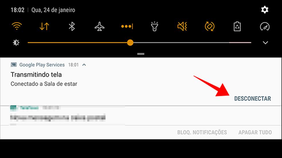 Desconecte o celular do Chromecast para interromper o espelhamento — Foto: Reprodução/Paulo Alves