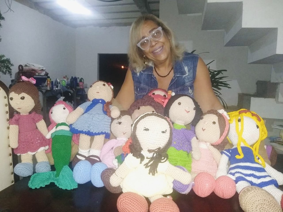 Andria passou a vender bonecas de amigurumi durante a pandemia — Foto: Arquivo pessoal