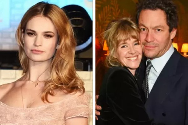 Lily James e Catherine Fitzgerald com Dominic West (Foto: Getty Images)