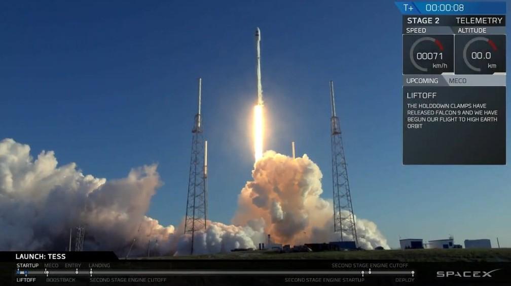 Satélite TESS foi lançado em uma parceria da Nasa com a SpaceX — Foto: Space X/Twitter