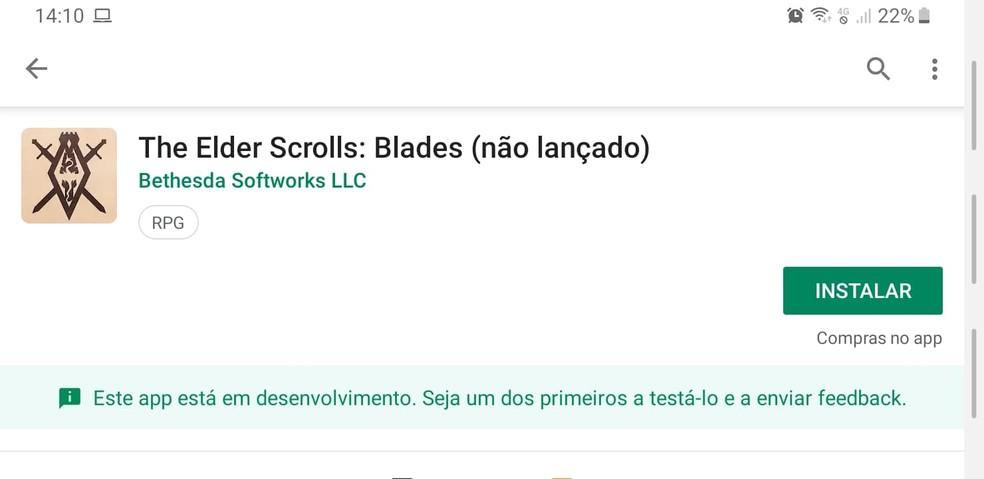 Clique para instalar o The Elder Scrolls: Blades no seu Android — Foto: Reprodução/Murilo Molina