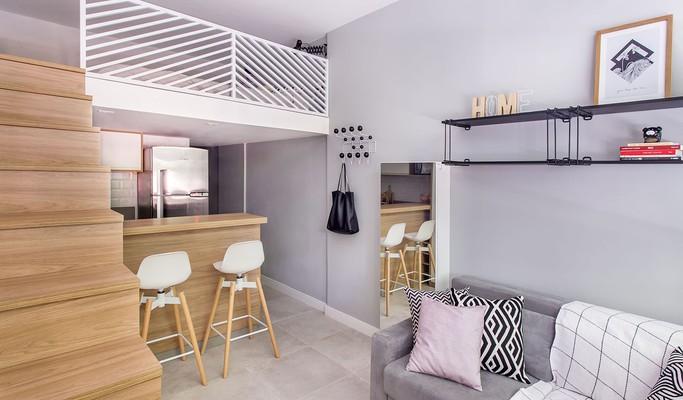 Apê de apenas 23 m² tem quarto, sala, cozinha, lavanderia e banheira