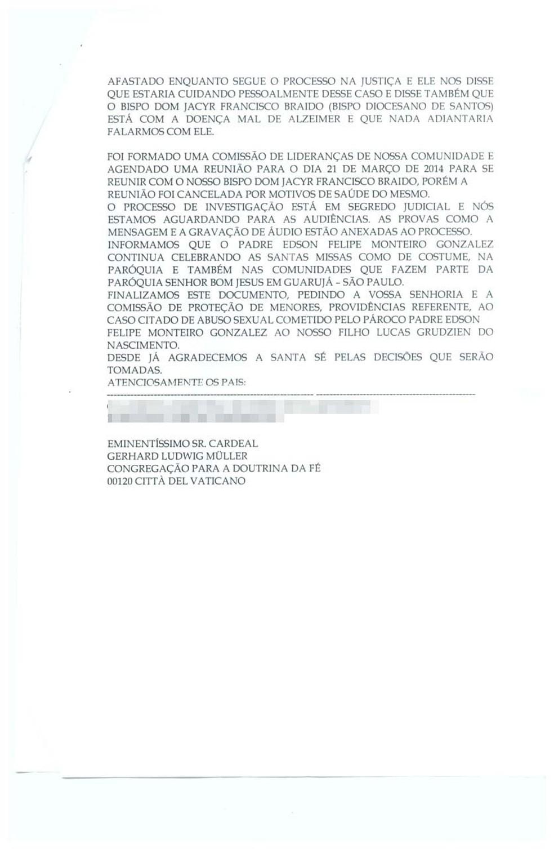 Família fez denúncia ao Vaticano afirmando abusos sexuais por parte do padre em Guarujá, SP — Foto: Arquivo pessoal