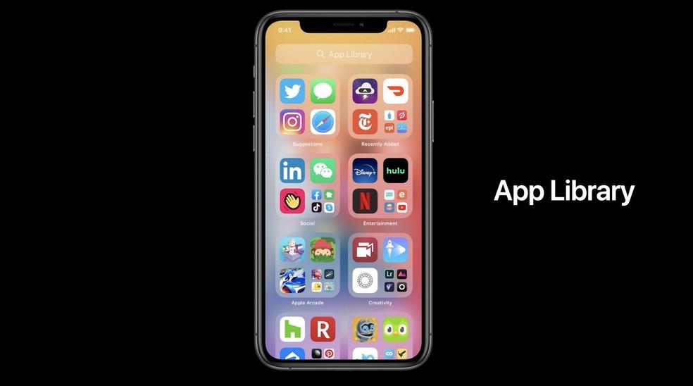Biblioteca de aplicativos vai agregar apps por categoria automaticamente e facilitar a visualização. — Foto: Reprodução/Apple