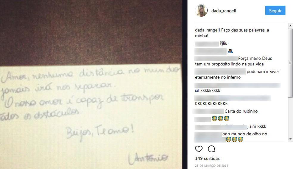 Bilhete supostamente de Nem para Danúbia (Foto: Reprodução/Instagram)