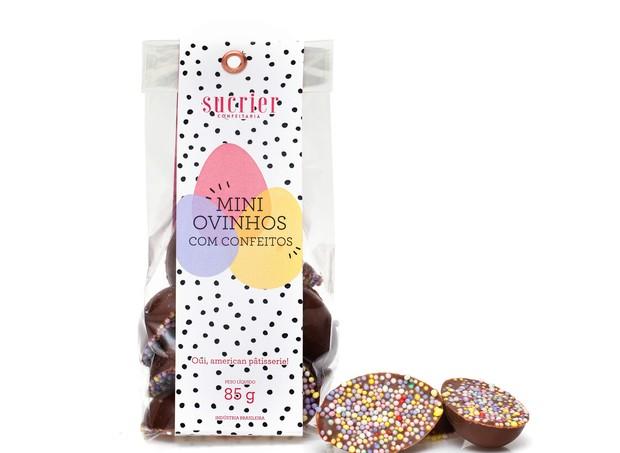 Mini Ovinhos (85g) I Meio ovinho de chocolate belga ao leite com confeitos coloridos I Da Sucrier, R$24 (Foto: Divulgação)