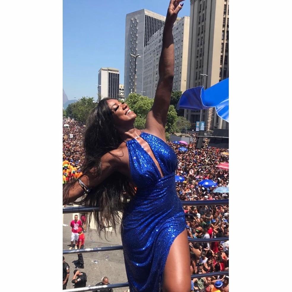 Cris Vianna curtiu o Bloco de Preta Gil no pré-Carnaval de rua 2019, no Rio de Janeiro — Foto: Reprodução das redes sociais