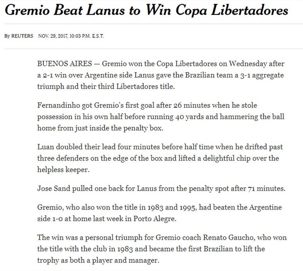 The New York Times, dos Estados Unidos (Foto: Reprodução)