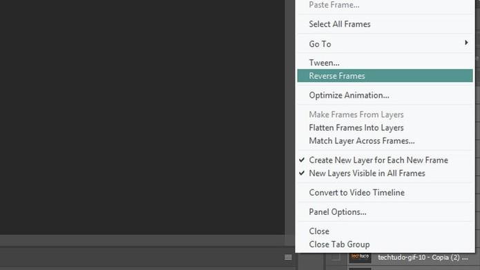 """Para inverter a ordem das imagens, clique em """"Reverse Frames"""" no Photoshop (Foto: Reprodução/Tais Carvalho)"""