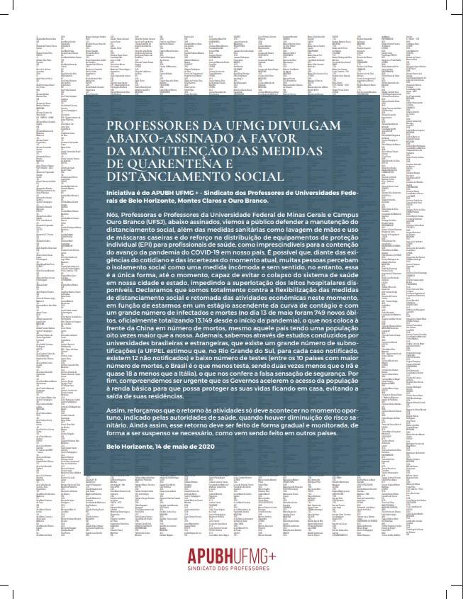 Professores de universidades federais  fazem abaixo-assinado em apoio a medidas contra o coronavírus em BH