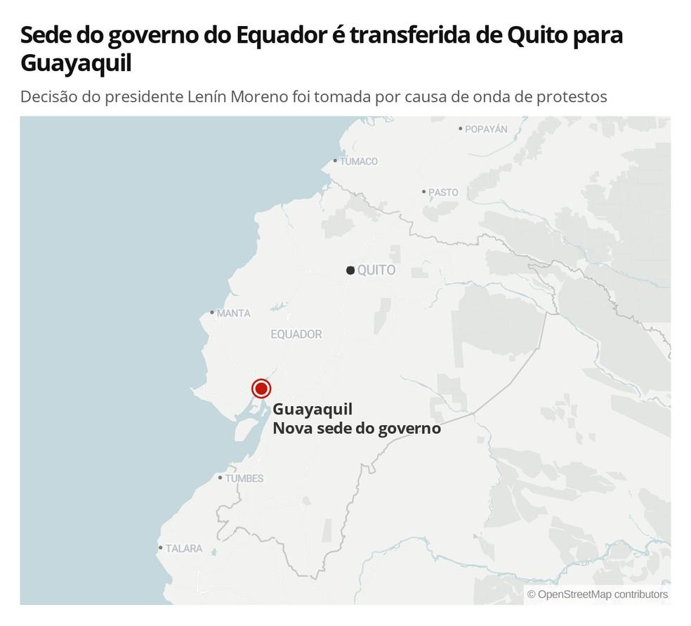 Mapa mostra a transferência da sede do governo do Equador de Quito para Guayaquil — Foto: Rodrigo Sanches/G1