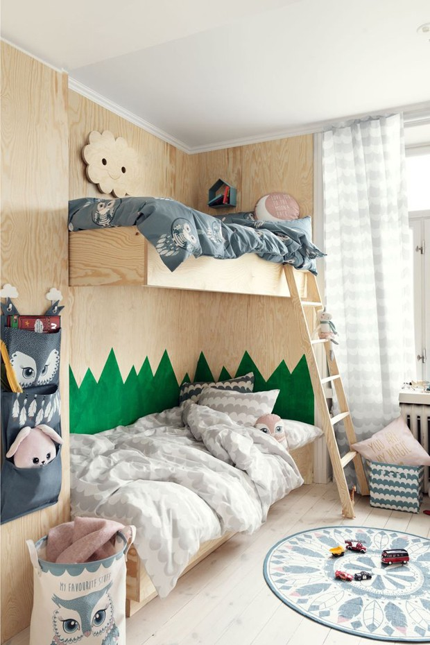 Décor do dia: beliche de madeira no quarto de irmãos (Foto: H&M Home/Divulgação)