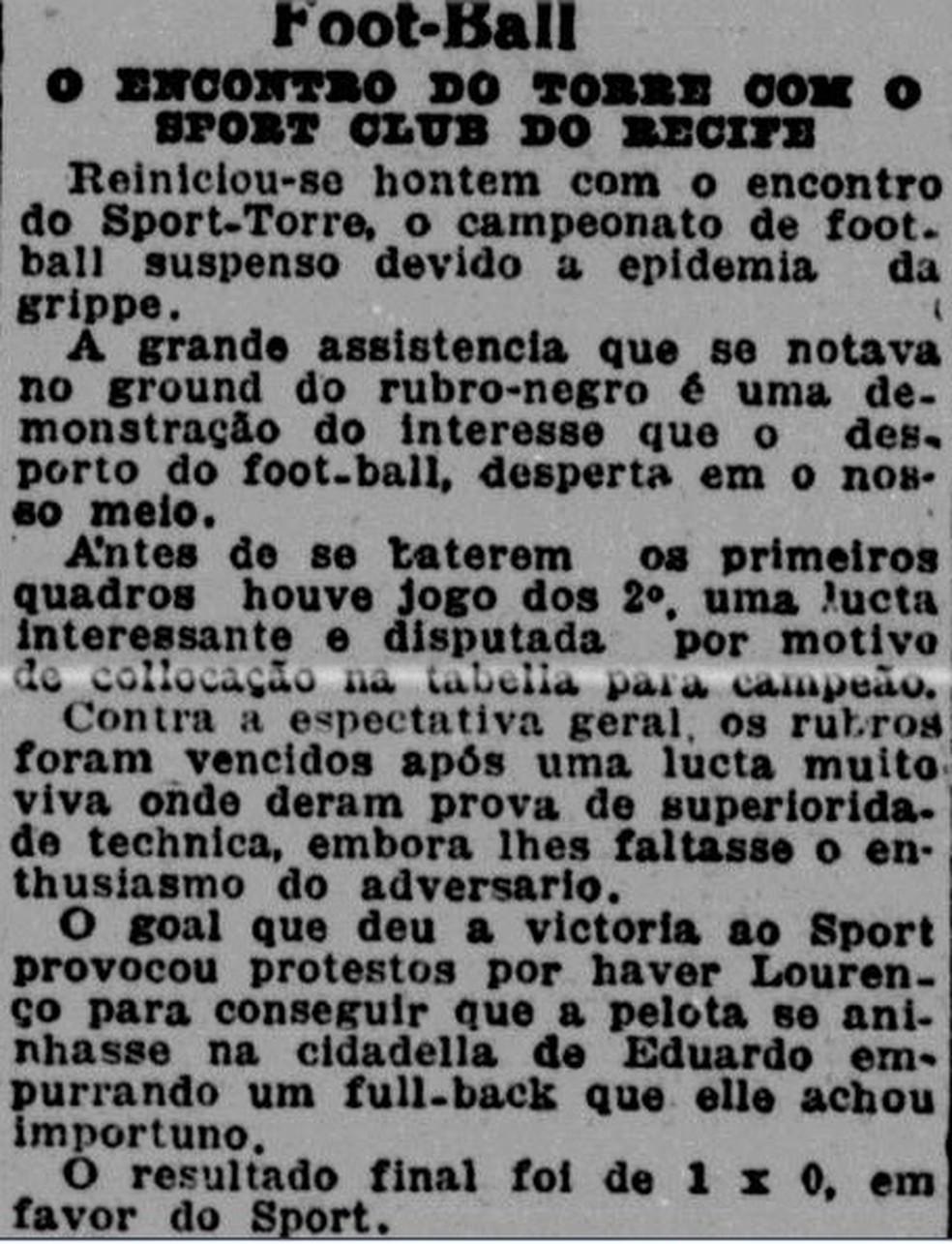 Campeonato Pernambucano de 1918 é retomado após surto da gripe espanhola — Foto: Reprodução/Diario de Pernambuco