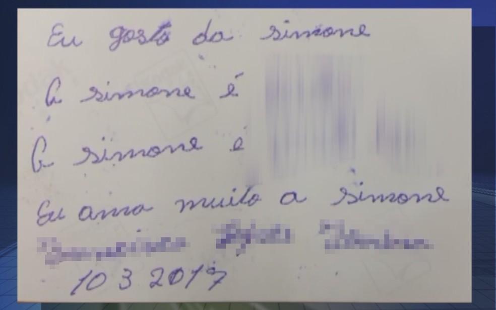 Suspeito escreveu declaração no verso de uma foto da vítima (Foto: Reprodução/TV TEM/Arquivo)