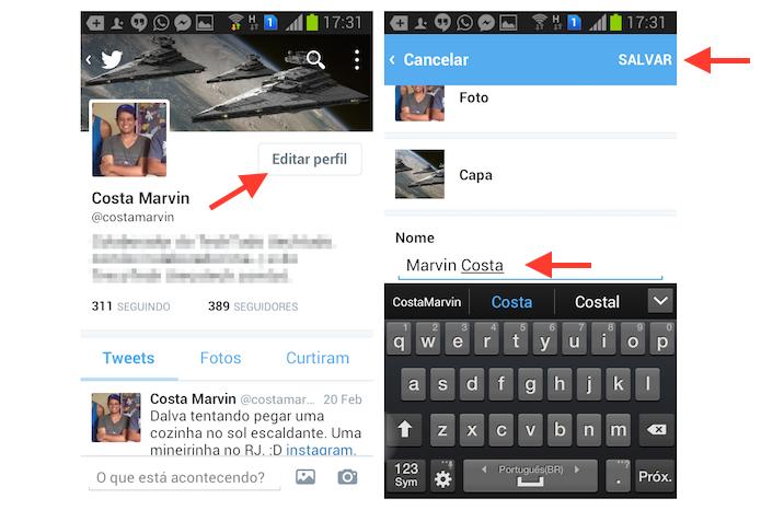 Alterando o nome de exibição de um usuário do Twitter no Android (Foto: Reprodução/Marvin Costa)