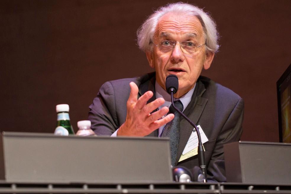 Gérard Mourou, um dos vencedores do Nobel de Física de 2018, em foto de arquivo  — Foto: Jeremy Barande/Ecole Polytechnique via AP
