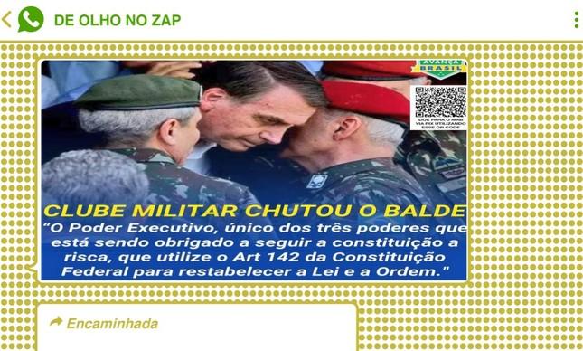 Nota do presidente do Clube Militar que instiga ruptura institucional por parte de Bolsonaro fez sucesso no WhatsApp