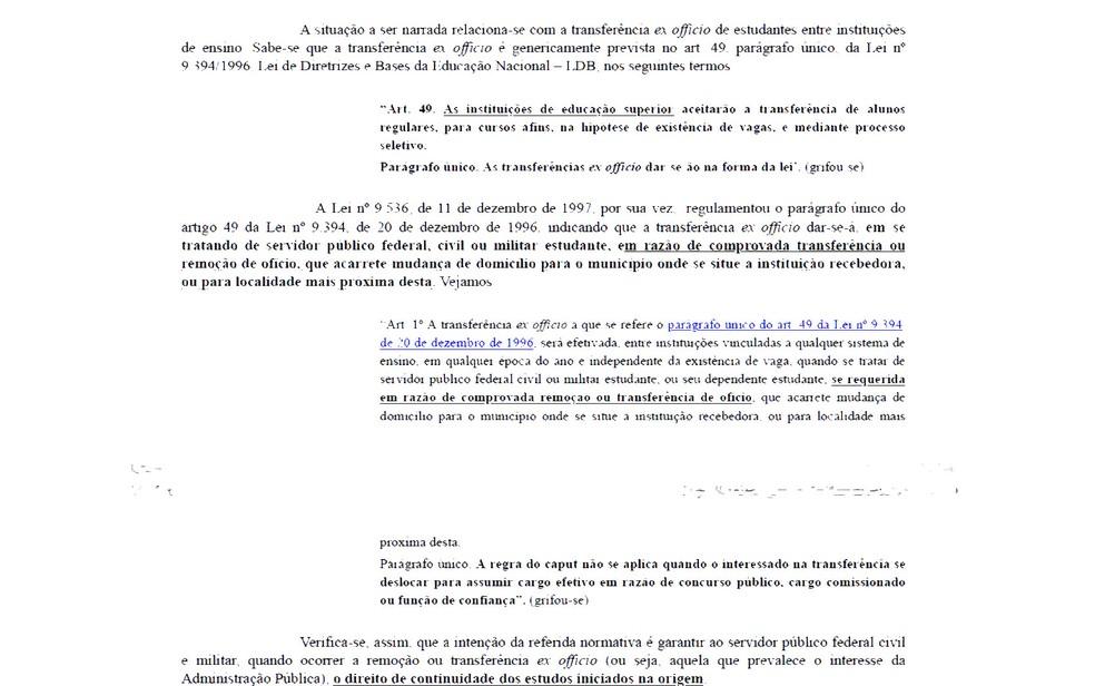 Trecho do documento detalha o esquema de transferência com base na lei ex officio — Foto: Reprodução