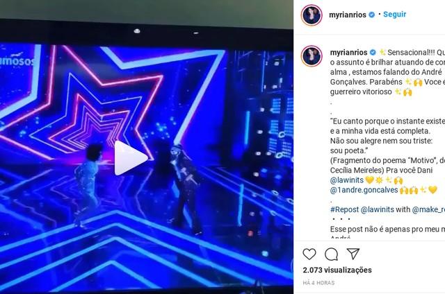 Myrian Rios vibra com apresentação de André Gonçalves na 'Dança dos famosos' (Foto: Reprodução Instagram)