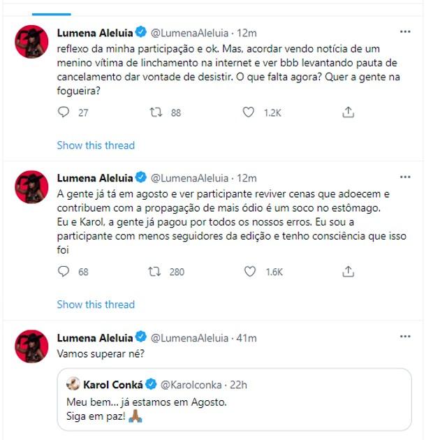 Publicação de Lumena e Karol Conká (Foto: Reprodução/Twitter)