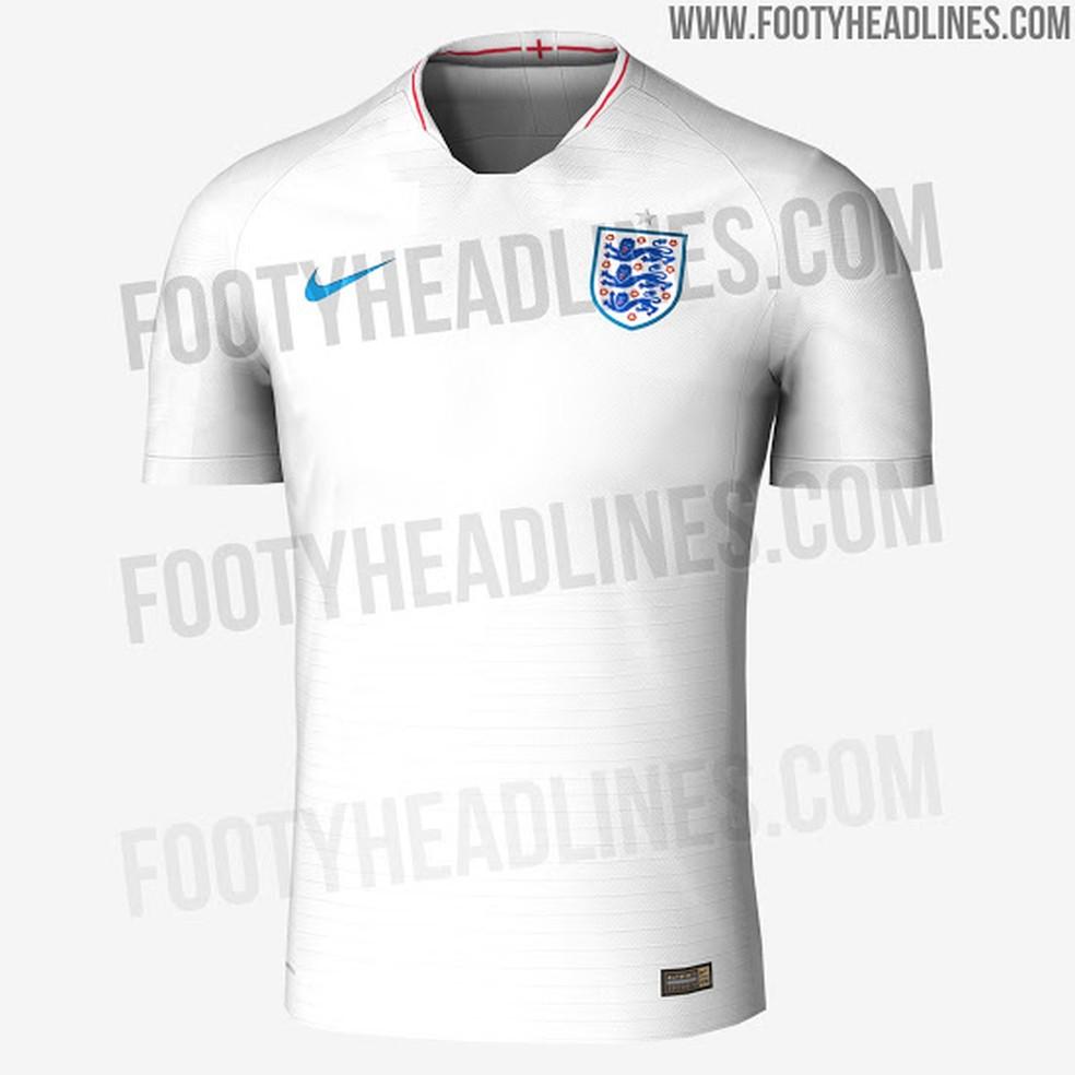 Suposta camisa da Inglaterra para a Copa do Mundo (Foto  Reprodução   Footy  Headlines 0467cc37d523c