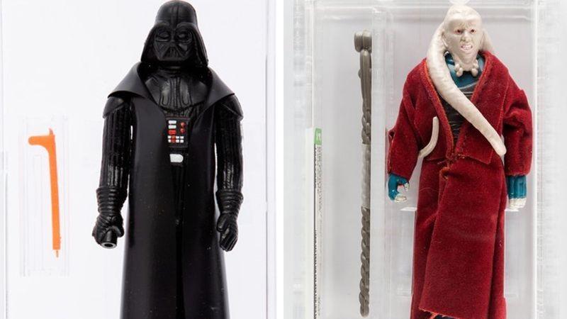 Protótipos raríssimos de bonequinhos de Darth Vader e Bib Fortuna que serão colocados à venda em leilão de brinquedos da saga Star Wars (Foto: Reprodução/Heritage Auctions)