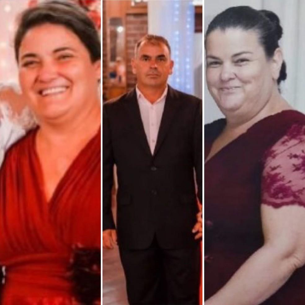 Valdir, Deneci e Denilde Carboni Pedro, de 48, 51 e 53 anos — Foto: Funerária Menino Deus/Divulgação