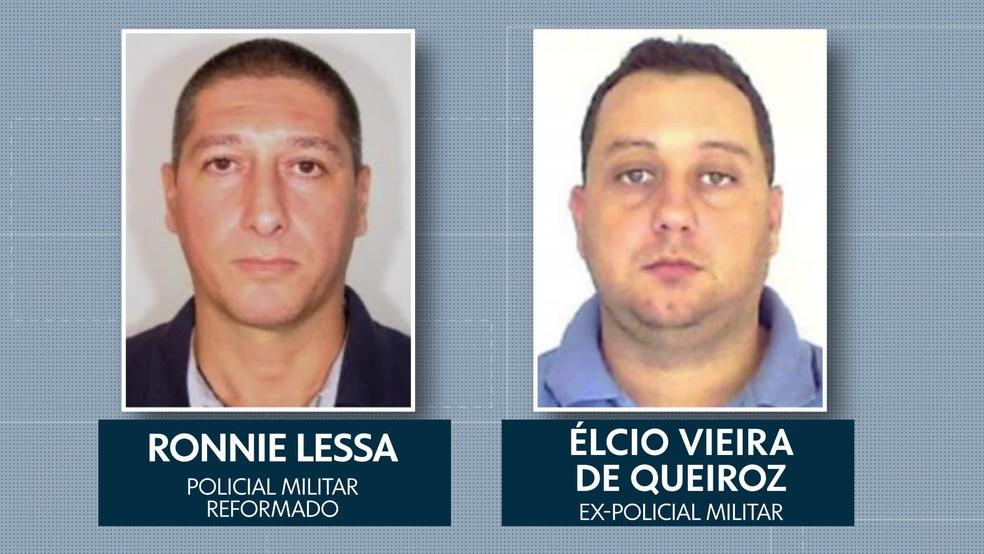 Ronnie Lessa, apontado como autor dos disparos contra Marielle, e Élcio Queiroz, suspeito de dirigir o carro — Foto: Reprodução/TV Globo