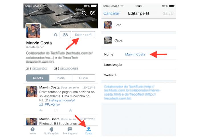 Alterando o nome de usuário de uma conta do Twitter pelo iPhone (Foto: Reprodução/Marvin Costa)