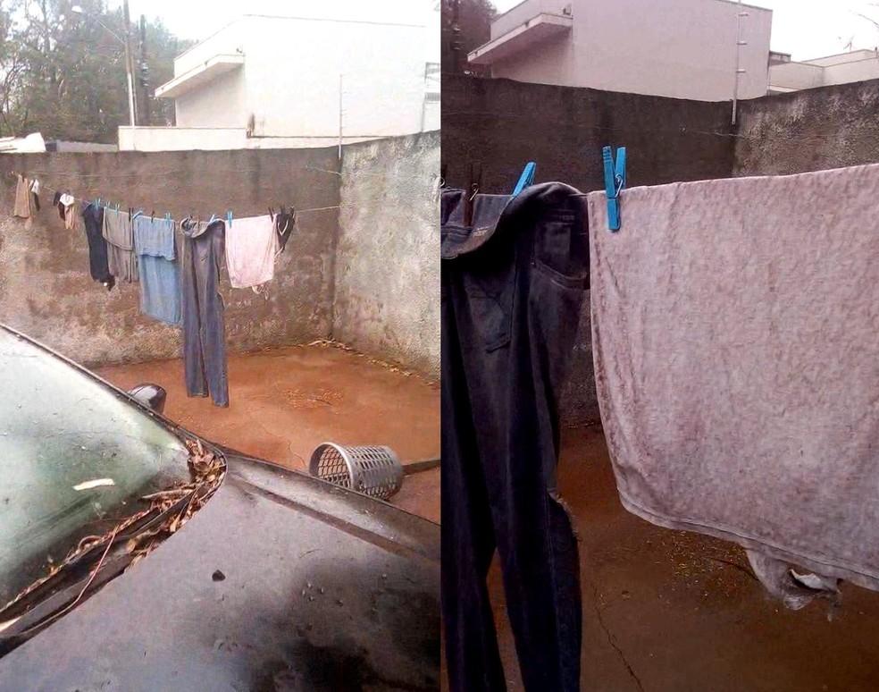Tempestade de areia sujou as roupas que estavam no varal em casa de Palmital — Foto: Arquivo pessoal/Fernando Bissoli