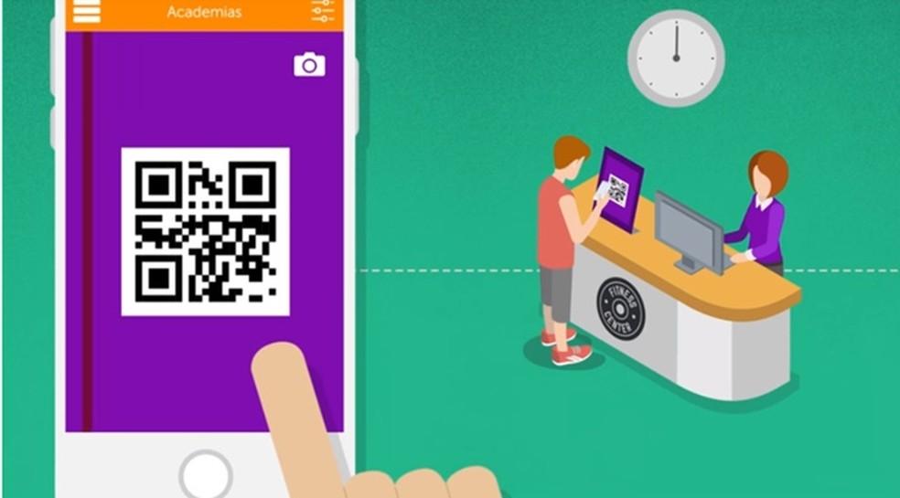 Sistema de QR Code é usado pelo app yoooUp! para começar e finalizar o seu treino no estabelecimento — Foto: Divulgação/yoooUp!