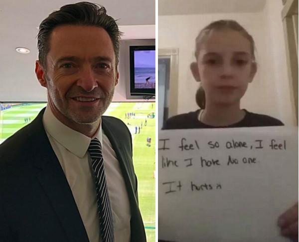 O ator Hugh Jackman e a garotinha para quem ele prestou apoio (Foto: Instagram)