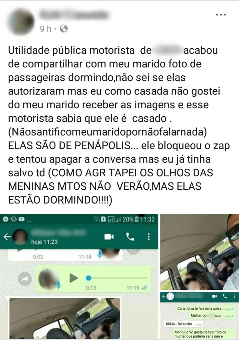 Mulher que recebeu foto de passageiras dormindo publicou nas redes sociais repudiando ação do motorista — Foto: ATAPP/Divulgação