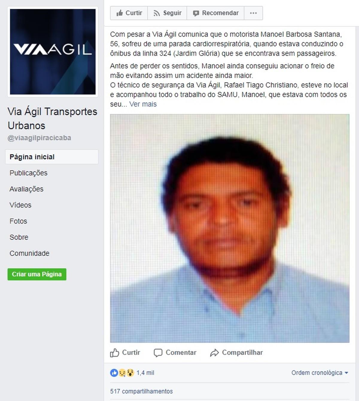 Motorista morre após passar mal enquanto dirigia ônibus coletivo em Piracicaba