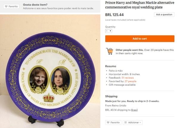 O prato com a foto de Ed Sheeran no lugar do príncipe Harry (Foto: Reprodução )