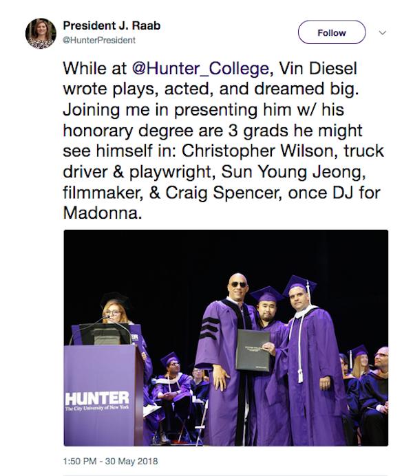 A presidente da ex-universidade do ator Vin Diesel comentando o novo título do astro (Foto: Twitter)