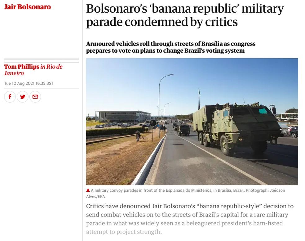 The Guardian (Reino Unido) sobre ato militar na Praça dos Três Poderes — Foto: Reprodução