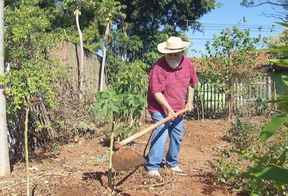 """O aposentado Mário Gonçalves Ferreira cuida de um terreno baldio em frente sua casa: """"Aqui também é minha casa"""" — Foto: TV TEM/Reprodução"""