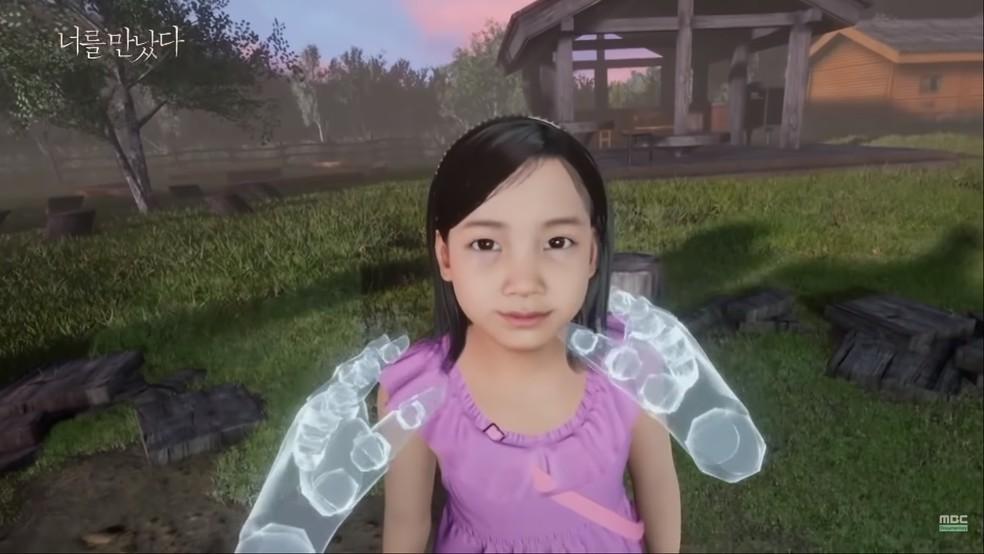 Mãe interage com menina virtual em simulação — Foto: Reprodução/YouTube (MBCdocumentary)